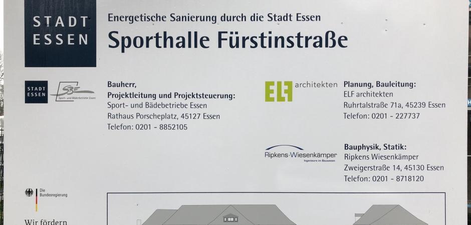 Sanierung der Sporthalle in der Fürstenstrasse Essen.